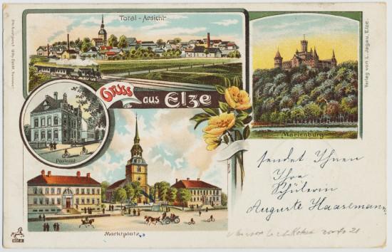 Elze mit Postamt Ostansicht Rathaus Apotheke Marienburg