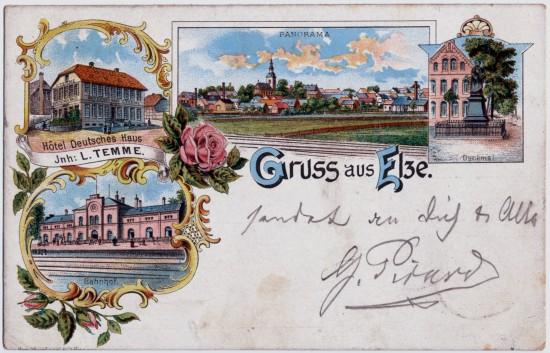 Elze mit Hotel Deutsches Haus Temme Hauptstraße 1, Bahnhof Elze, Kirchplatz Hauptstraße 62 Luther Denkmal Elze