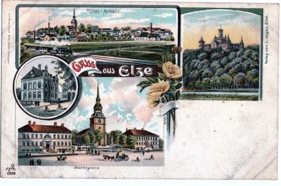 Marienburg Nordstemmen, dem Marktplatz mit dem Rathaus Elze Hauptstraße 61 und dem Postamt Elze Bahnhofstraße