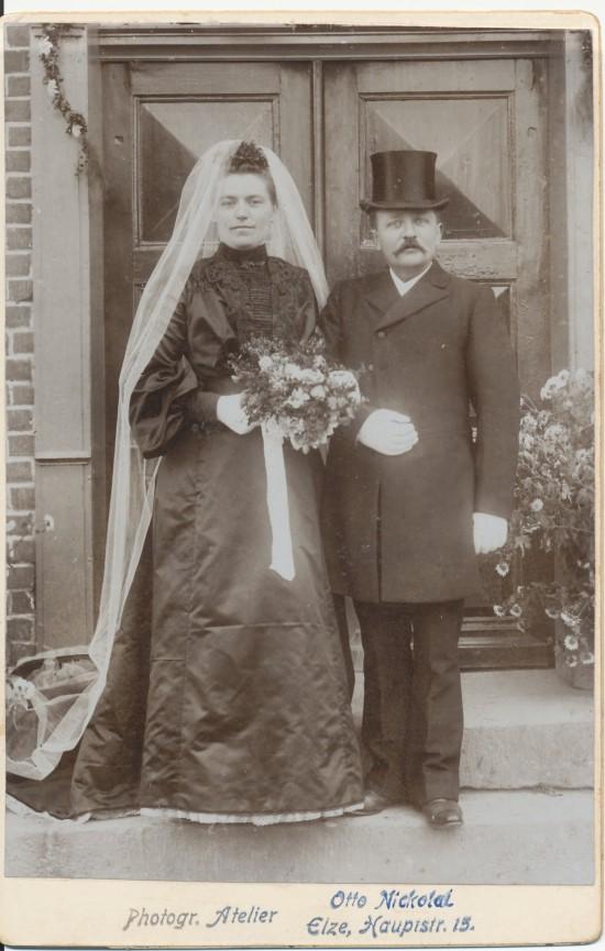 Brautpaar um 1900, Fotograf Otto Nickolai Elze