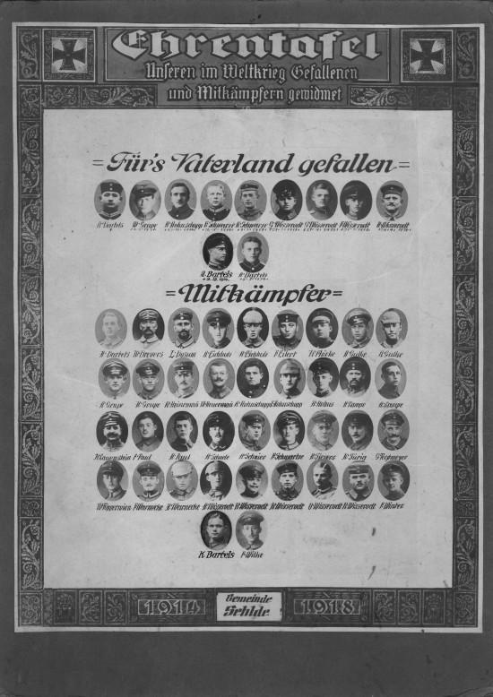 Ehrentafel Erster Weltkrieg Sehle Elze