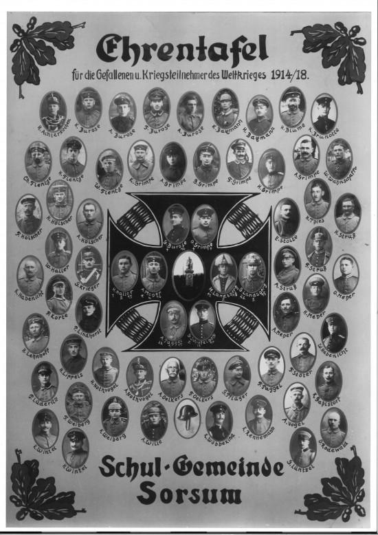 Ehrentafel 1914 1918 Sorsum Elze