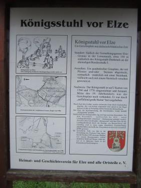 Infotafel Königsstuhl Elze Zum Königsstuhl