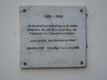 Wellbornstraße 42 Elze Feuerwehr Sehlde Inschrift